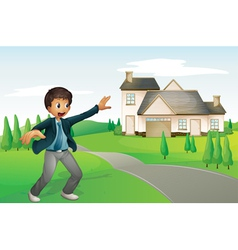 a boy and a house vector image vector image