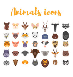 flat style set of animal web icons vector image vector image