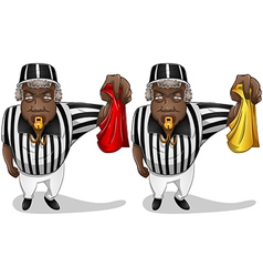 Football Referee with Flag and Whistle vector image vector image