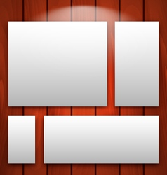 gallery interior with empty frames on wooden wall vector image