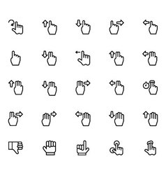 Hand Gesture Line Icons 3 vector image