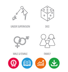 Male female dice and family icons vector