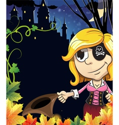 Pirate girl near the castle vector image