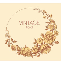 Round floral frame vintage style vector