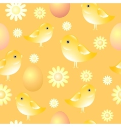 Seamless pattern with chicks eggs and flowers vector image
