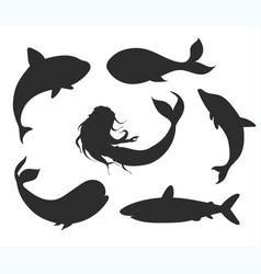 set of underwater life silhouettes with mermaid vector image