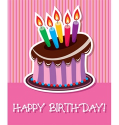 vector birthday chocolate cake with burning candle vector image vector image