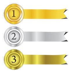 Gold silver and bronze award ribbons eps10 vector image