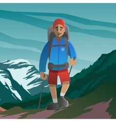 Happy man walking in the mountains Front view vector image
