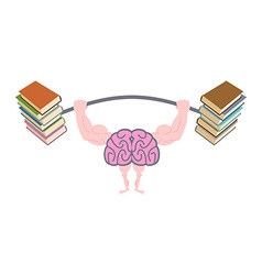 Pumping up brains Strong brain with big muscles vector image