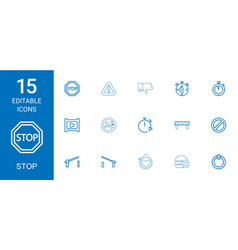 15 stop icons vector