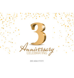 anniversary 3 red 3d numbers vector image