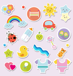 baby stickers kids children design elements for vector image