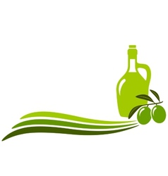 Background with wave and olive oil bottle vector