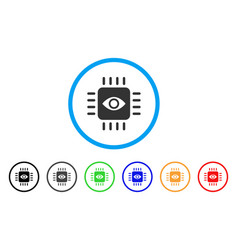 Bionic eye processor rounded icon vector