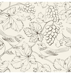 Bird and grape seamless pattern vector image