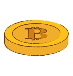 Bitcoin yellow icon digital money symbol vector