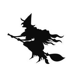 black silhouette a witch flying on a broomstick vector image