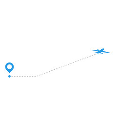 Blue airplanes with dotted flight path dotted vector