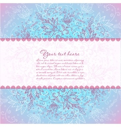 Blue background with rose flower horizontal text vector