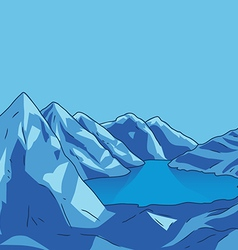 Blue mountain Glacial lake landscape modern vector
