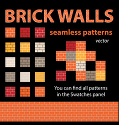 brick walls seamless patterns vector image