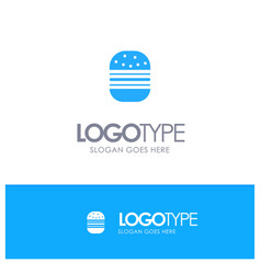 burger fast food fast food blue logo vector image