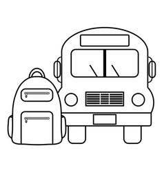 bus school vehicle with schoolbag vector image