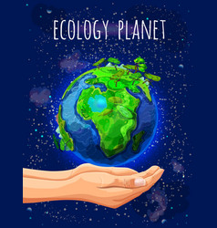 Cartoon eco planet poster vector