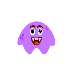 cartoon flat happy monsters violet icon colorful vector image