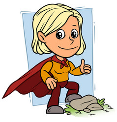 cartoon girl character in red superhero cape vector image