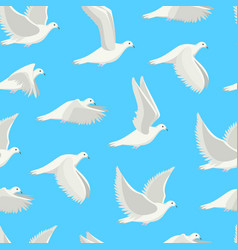 Cartoon white dove bird seamless pattern vector