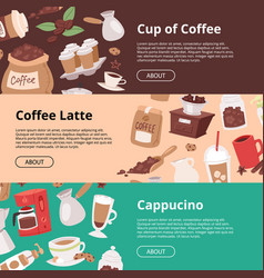 coffee house set of banners flyers vector image