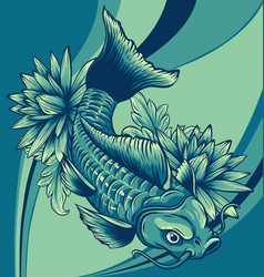 composition with flowers and koi carps vector image