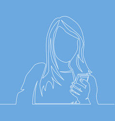 continuous line woman reading mobile phone vector image