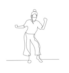 continuous one line dancing woman with hair bun vector image
