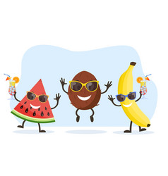 cute and funny coconut character vector image
