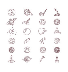 cute cartoon space asrtonaut cosmos icon vector image