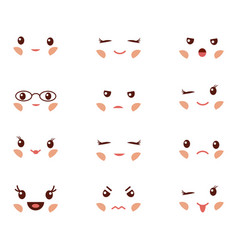 Cute emoticons with different emotions vector