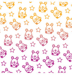 degraded line cute mice funny animals background vector image