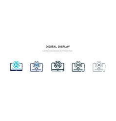 Digital display 30 icon in different style two vector