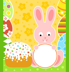 easter background card with rabbit and cake vector image