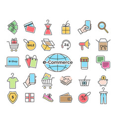 ecommerce color line icons vector image