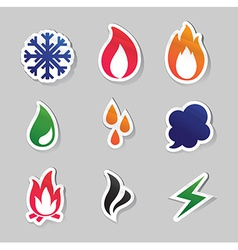 fire freeze steam water icons vector image