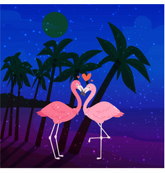 flamingo couple in love cartoon animal lovers vector image