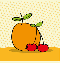 fresh orange and cherries on dotted background vector image