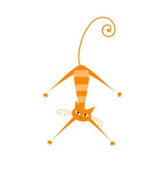 Funny orange striped cat for your design vector image