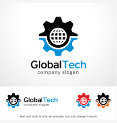 global tech logo template design vector image