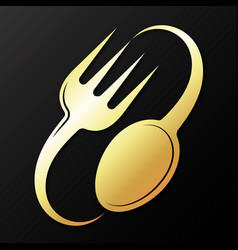 Golden fork and spoon vector