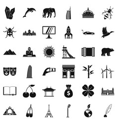 Good world icons set simple style vector